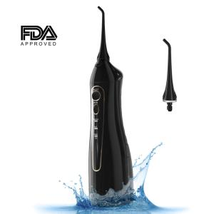 Water Flosser Cordless Oral Irrigator - Portable Dental Flossers for Travel & Home, Professional USB Rechargeable Power Dental Water Jet, 3 Flossing Modes Clean Braces & Teeth, 2 Jet tips in Black