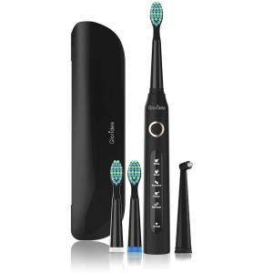 5 Modes Electric Toothbrush with Travel Case, Rechargeable Sonic Toothbrush with Smart Timer and 4 Brush Heads, Waterproof USB Toothbrushes Up to 30 Days Battery Life Black